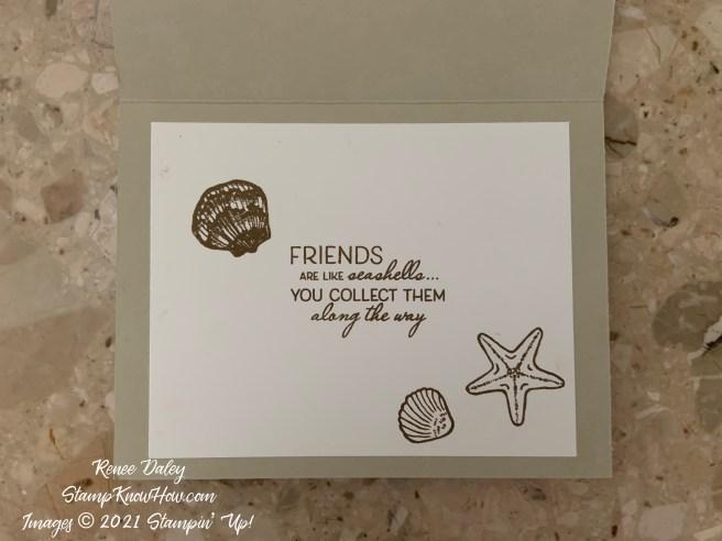 Friends are like seashells birthday card inside view