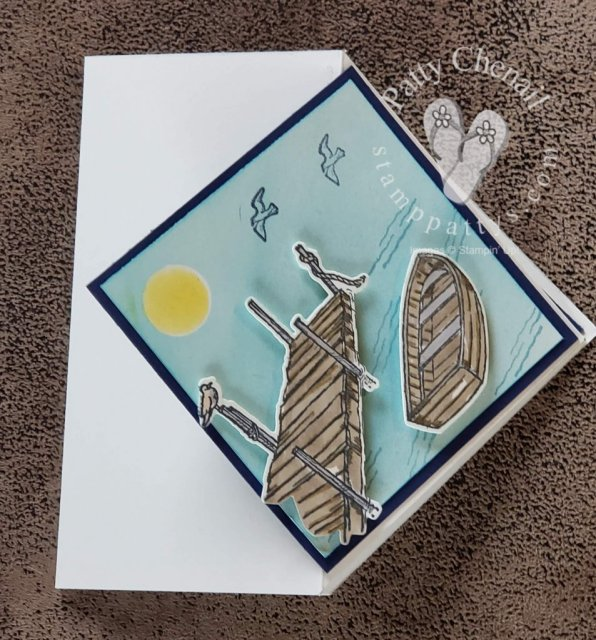 By the Dock stamp bundle from Stampin' Up!'s Jan to June mini catalog. Created the sky with our sponge brayer and a few ink colors!