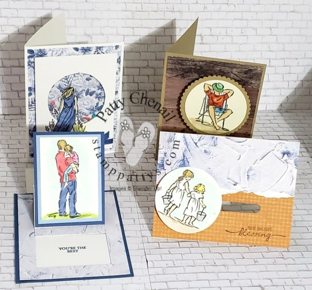 Cards that move; shake, rattle, roll using the Beautiful Moments and A Good Man stamp sets from the Stampin' Up! Annual Catalog and our incredible stampin' blends!