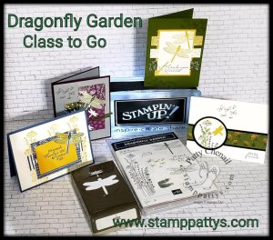 Dragonfly Garden part of the Dandy Garden product suite from Stampin' Up!'s January to June catalog!  Get my class to go!