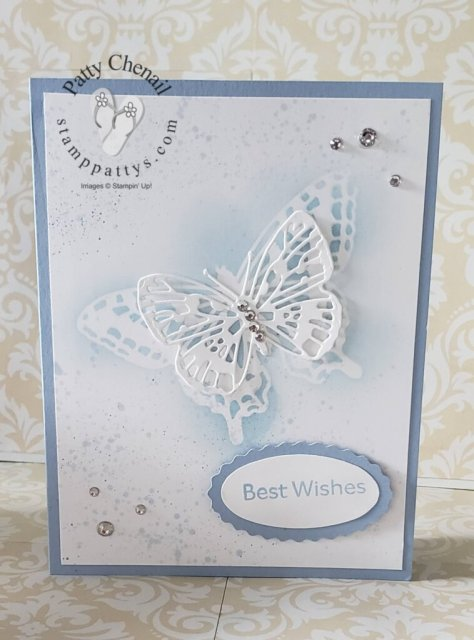 Butterfly Brilliance with coordinating dies made with the retiring Seaside Spray cardstock.