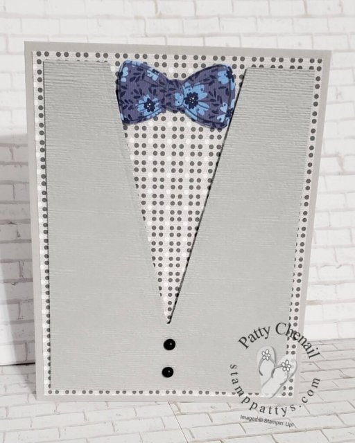 Using the Handsomely Suited stamp set and the Well Suited Dies this incredible masculine card was created. Use it for Father's Day, a male birthday or any occasion you'd like!