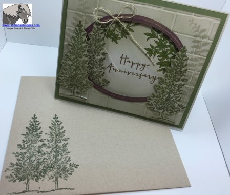 Woodsy Anniversary card and envelope watermarked