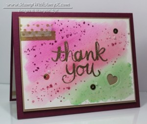 Watercolor Thank You 1 - Stamp With Amy K