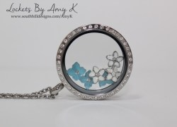 Blue & White Flower Locket - Lockets by Amy K