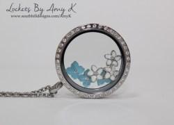 Blue & White Flower Locket - Lockets by Amy K
