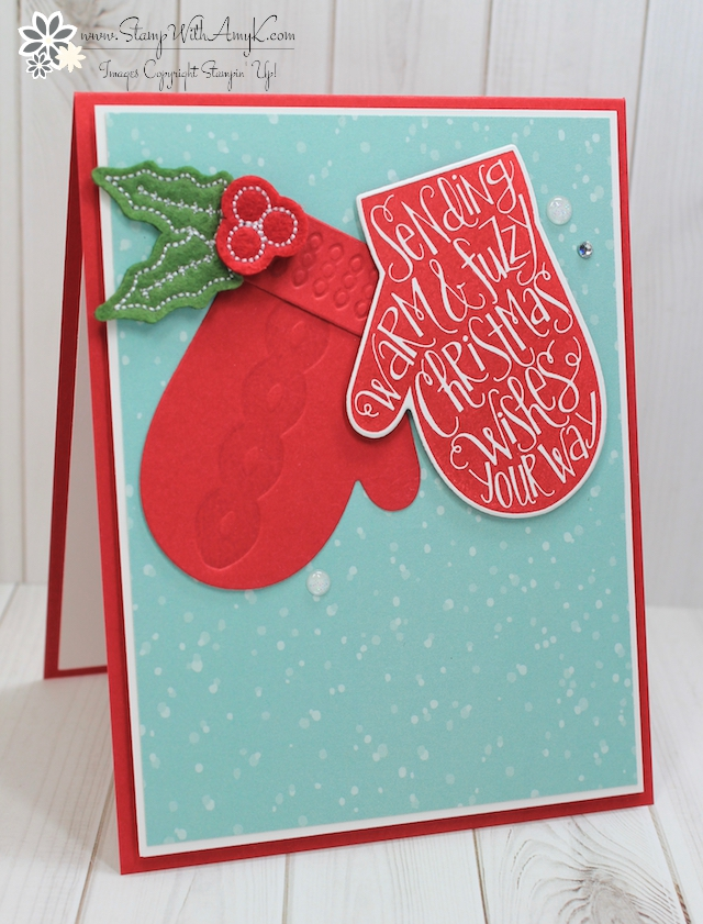 Stampin Up Smitten Mittens CAS Holiday Card Stamp With