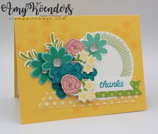 I Started By Stamping The Small Flower Image From Bouquet Blooms Photopolymer Stamp Set In Daffodil Delight Ink Across A Card Base