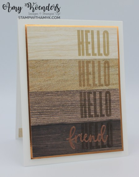 Stampin' Up! Biggest Wish Hello Friend Woodgrain Card