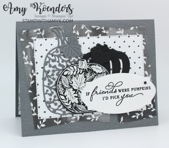 Stampin' Up! Pretty Pumpkins Black & White Card