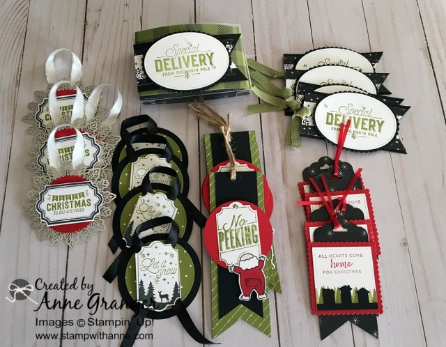 Gift Tags and Gift Tag holder with Stampin' Up! products.