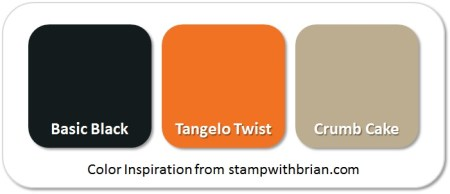 Stampin' Up! Color Inspiration:  Basic Black, Tangelo Twist, Crumb Cake