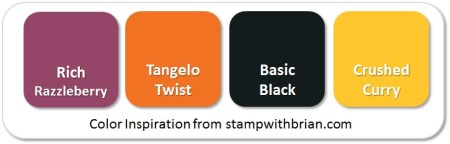Stampin' Up! Color Inspiration: Rich Razzleberry, Tangelo Twist, Basic Black, Crushed Curry