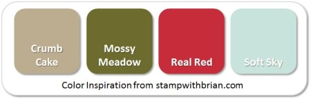 Stampin' Up! Color Inspiration: Crumb Cake, Mossy Meadow, Real Red, Soft Sky