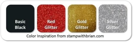 Stampin' Up! Color Inspiration: Basic Black, Red Glitter, Gold Glitter, Silver Glitter