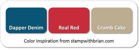 Stampin' Up! Color Inspiration: Dapper Denim, Real Red, Crumb Cake