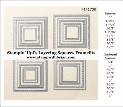 Measurements for Stampin' Up!'s Layering Squares Framelits, Brian King