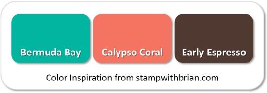 Stampin' Up! Color Inspiration: Bermuda Bay, Calypso Coral, Early Espresso