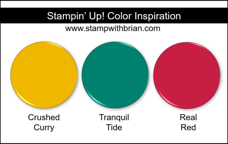 Stampin' Up! Color Inspiration - Crushed Curry, Tranquil Tide, Real Red