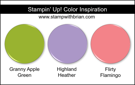 Stampin' Up! Color Inspiration - Granny Apple Green, Highland Heather, Flirty Flamingo