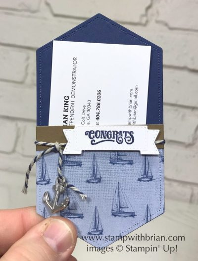 Stitched Nested Labels Dies, Come Sail Away, Stampin' Up!, Brian King, pocket for gift card or business card