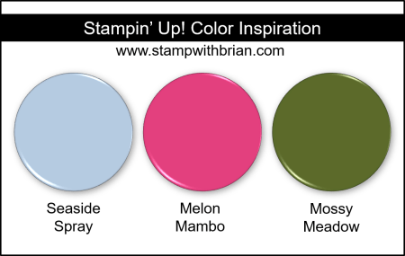 Stampin' Up! Color Inspiration - Seaside Spray, Melon Mambo, Mossy Meadow