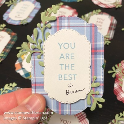 Tasteful Touches, Celebration Labels Dies, Plaid Tidings, Stampin Up!, Brian King