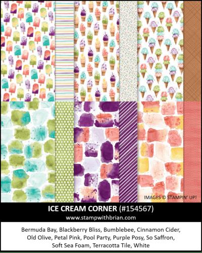 Ice Cream Corner Designer Series Paper, Stampin Up! 154567