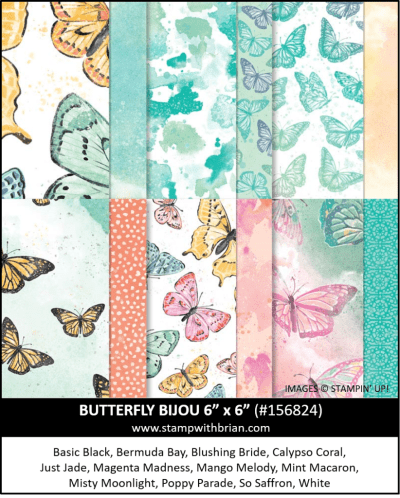 Butterfly Bijou Designer Series Paper, Stampin Up! 156824