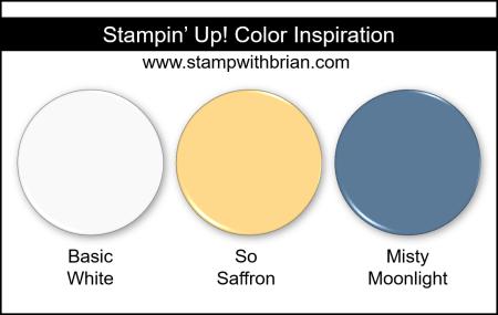Stampin Up! Color Inspiration - Basic White, So Saffron, Misty Moonlight