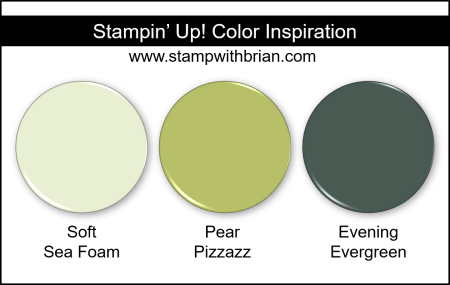 Stampin Up! Color Inspiration - Soft Sea Foam, Pear Pizzazz, Evening Evergreen