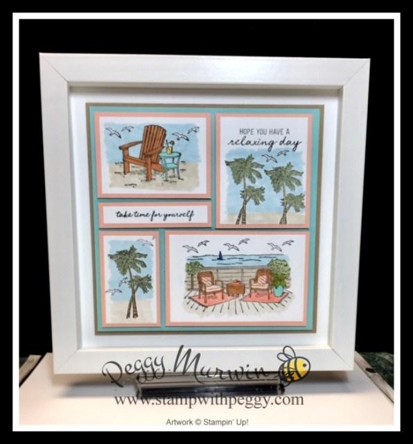 Seaside View Stamp Set, Summer Collage, Framed Art, Summer Splash, Stamp with Peggy