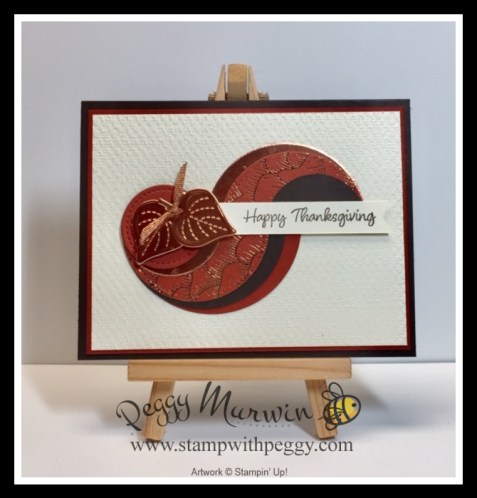 Banner Year Stamp Set, Gilded Autumn Designer Paper, Layered Circles Dies, Stitched Shapes Dies, Tasteful Textiles 3D Embossing Folder, Thanksgiving, Fall, Stamp with Peggy