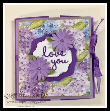 """Hydrangea Hill Designer Paper, Hippo & Friends Dies, Medium Daisy Punch, Gorgeous Grape 3/8"""" Sheer Ribbon, Mini Flip Album, Mother's Day, Cabin Fever Stamp Camp, Stamp with Peggy"""