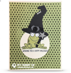 stampin up boo to you frog in withces hat halloween card