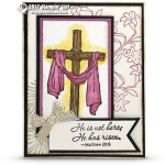 CARD: Easter Messages He is Risen Cross Card