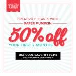 50% OFF Paper Pumpkin kits ends May 10