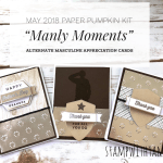 CLASS & VIDEO: Set of Masculine Appreciation Cards featuring the May 2018 Paper Pumpkin Kit & Giveaway