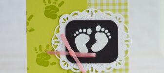 CARD: Little feet baby card from the retiring First Steps stamps