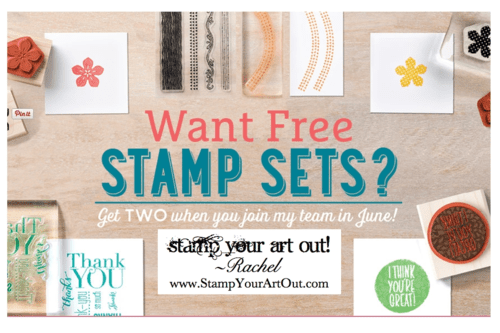 Join my community of stampers and paper crafters in June, and get TWO free stamp sets – any price!... Stampin' Up!®  Stamp Your Art Out! www.stampyourartout.com  #stampyourartout #stampinup
