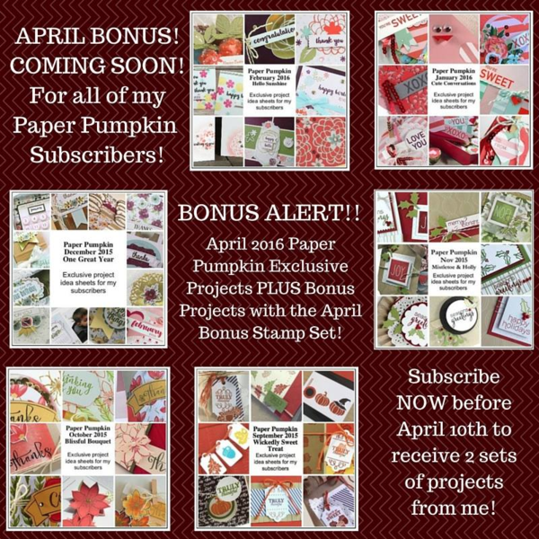 The April 2016 Paper Pumpkin kit bonus for my subscribers … #stampyourartout #stampinup - Stampin' Up!® - Stamp Your Art Out! www.stampyourartout.com