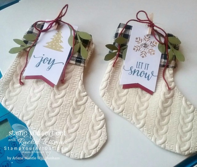 You can emboss the muslin stockings! (Thanks, Arlene Mantle for sharing your idea on our Paper Pumpkin Fan Club Facebook Group!) ...#stampyourartout #stampinup - Stampin' Up!® - Stamp Your Art Out! www.stampyourartout.com