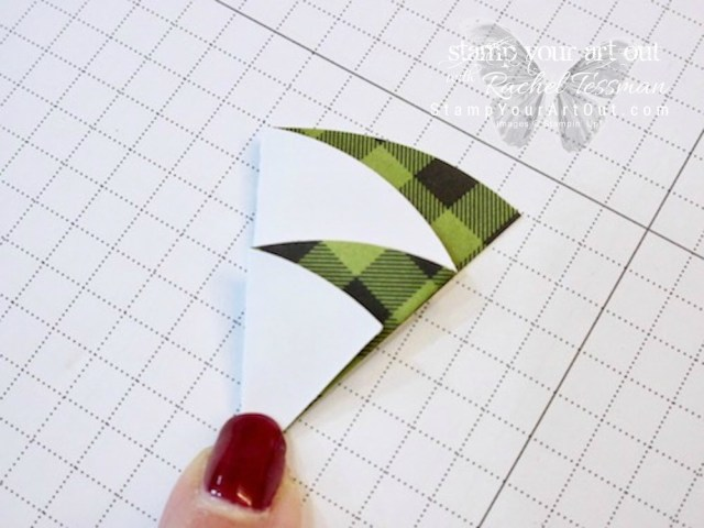 """Christmas tree tag/mini card created with the October 2017 """"Pining for Plaid"""" Paper Pumpkin kit!…#stampyourartout - Stampin' Up!® - Stamp Your Art Out! www.stampyourartout.com"""