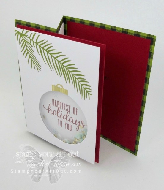 """Z-fold card created with the October 2017 """"Pining for Plaid"""" Paper Pumpkin kit – great fold for showing/sharing family photo!…#stampyourartout - Stampin' Up!® - Stamp Your Art Out! www.stampyourartout.com"""