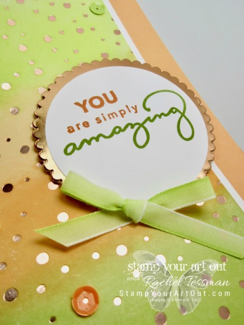 Click here for supplies, measurements AND to watch my quick video to see how I made this sponged foil resist card. I walk you through the steps, give helpful tips and share how to get this great effect with our fabulous 2018 Springtime Foils Designer Paper and Amazing You Stamp Set Sale-a-Bration freebies...#stampyourartout #stampinup - Stampin' Up!® - Stamp Your Art Out! www.stampyourartout.com