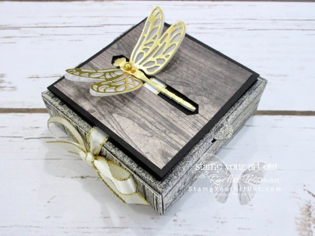 Click here for supplies, measurements AND to watch my quick video to see how to make this altered Mini Pizza Box for this fun dragonfly closure card & treat box combo. You can also click here to find a link for tips on making the dragonfly closure card using the Detailed Dragonfly Thinlits....#stampyourartout #stampinup - Stampin' Up!® - Stamp Your Art Out! www.stampyourartout.com