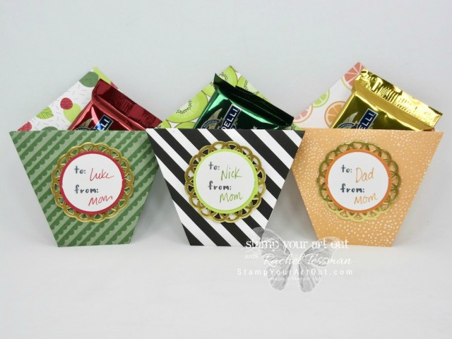 """Super """"sweet"""" candy holders with the Fruit Basket stamp set, Tutti Frutti designer paper and the Metallic Foil Doilies – all retiring soon. Click here for more information…#stampyourartout - Stampin' Up!® - Stamp Your Art Out! www.stampyourartout.com"""