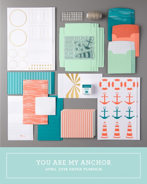 """Click here to watch a how-to video and see fun alternate project ideas I created with the April 2018 You Are My Anchor Paper Pumpkin kit: how to make the kit go further with Mini Pizza Boxes, some sweet Life Savers candy thank yous, a sweetheart card, and two versions of the """"impossible card.""""…#stampyourartout #stampinup - Stampin' Up!® - Stamp Your Art Out! www.stampyourartout.com"""