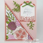 A right angle fold-over card created with the beautiful Sweet Soirée Designer Paper, some coordinating cardstock colors, the Cake Soirée stamp set, and the coordinating Sweet Cake Framelits dies. Click here for more information…#stampyourartout #stampinup - Stampin' Up!® - Stamp Your Art Out! www.stampyourartout.com
