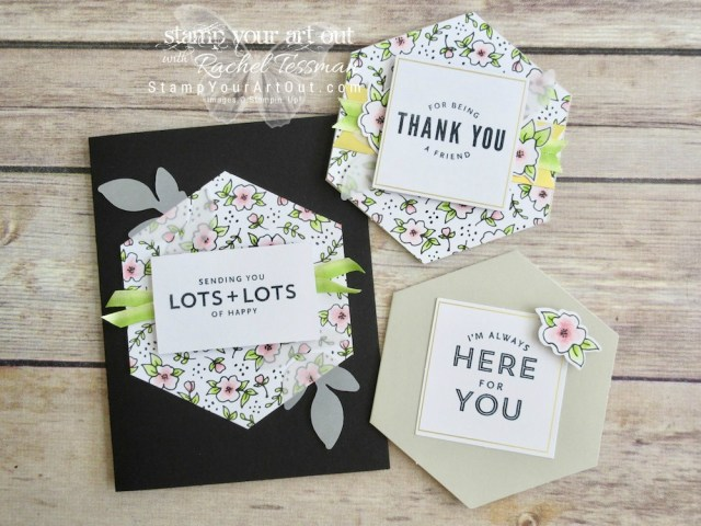 I altered the Lots of Happy card kit – added only 20 extra medium white envelopes and 12 sheets of Basic Black cardstock to double the cards in this kit! Click here for more information and lots of close-up photos…#stampyourartout #stampinup - Stampin' Up!® - Stamp Your Art Out! www.stampyourartout.com